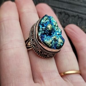 Sterling silver & titanium peacock druzy ring